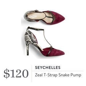 Seychelles Stitch Fix Zeal T-Strap Snake Pump Heel